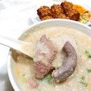 Mixed pork porridge ($4.80), handmade prawn rolls ($5/6 pieces).