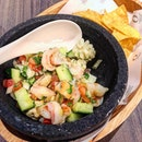 Seafood Ceviche With Tortilla Chips ($16).