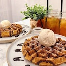 Waffle gelato set. Signature waffle with single scoop gelato ($8.50), premium flavour (+$0.70), ice lemon tea ($3.50).