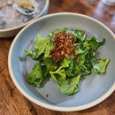 Ice plant tossed in kalamansi juice, dried shrimp & shallot grapeseed oil ($12).