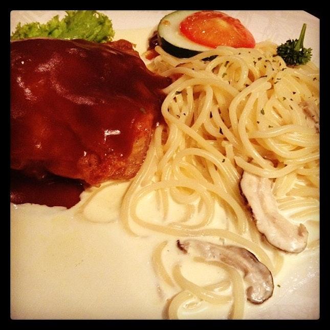Chicken Chop Spaghetti for dinner.