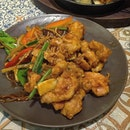 Tender chunks of chicken thigh, first coated with seasoned corn flour and deep-fried, then wok-fried with soy sauce, lots of ginger and coriander, and red chillies and curry leaves too...until fragrant and slightly caramelised.