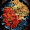 Literally nasi daging merah, that is some killer red.