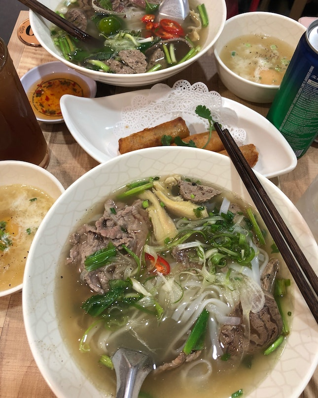 Beef Pho + Fried Spring Rolls