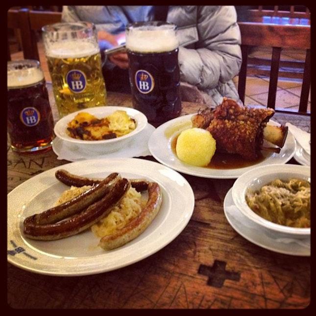 German pork knuckle w German sausages, w German sauerkraut & some German beers FTW!!!