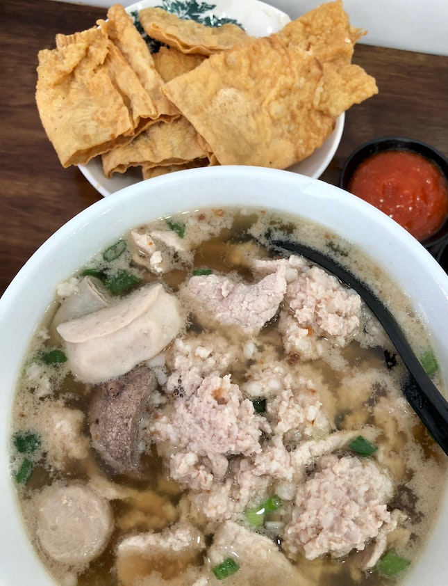 Pork Noodles With Fried Fish Paste Fu Chuk