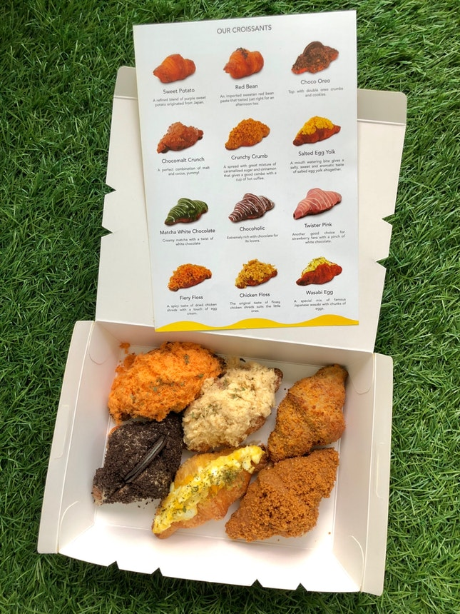 Assorted Mini Croissants - Fiery Floss, Chicken Floss, Crunchy Crumb, Choco Oreo, Wasabi Egg, Salted Egg Yolk