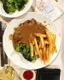 #AnythingAlsoEat - Chicken Chop with Mushroom Sauce, Fries and Broccoli ~•~•~•~•~ Great company trumps average food.