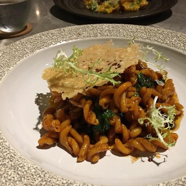 48-hour Barolo braised oxtail strozzapreti, parmesan wafers, wild thyme