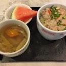 盅仔咸鱼肉碎饭 Minced Pork & Salted Fish Rice + 咸菜鸭汤 Salted Vegetable Duck Soup