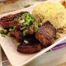 Beef steak with fried rice